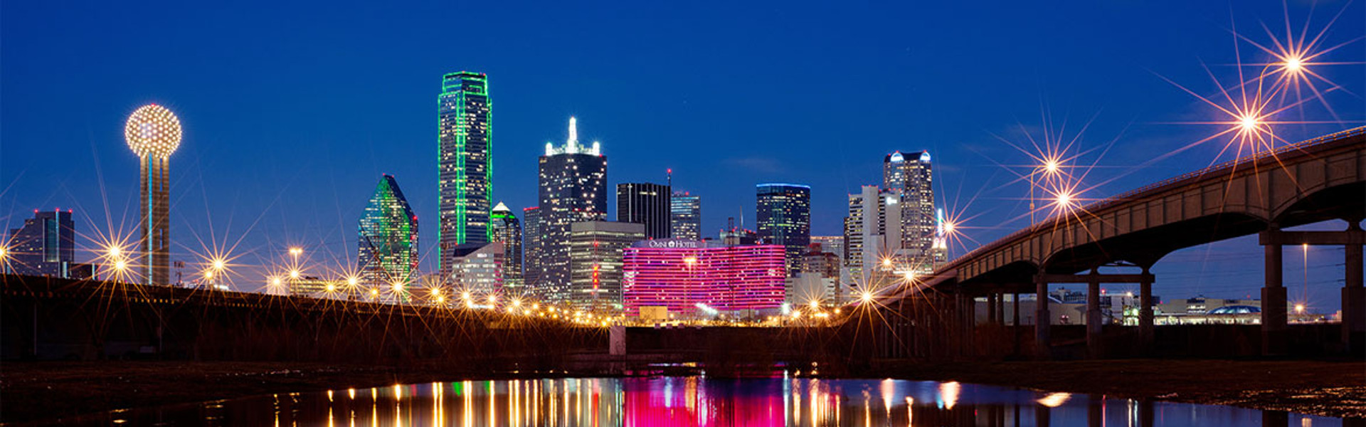 Omni Dallas Hotel and Skyline Across Creek